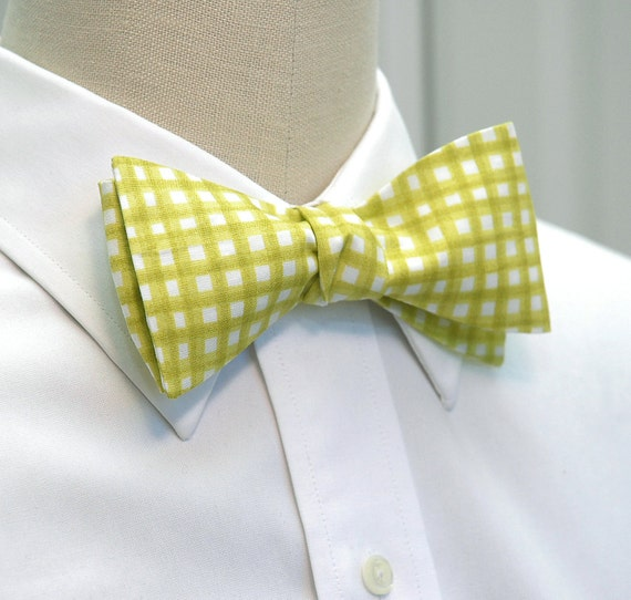 Men's Bow Tie in citron/lime green & white gingham