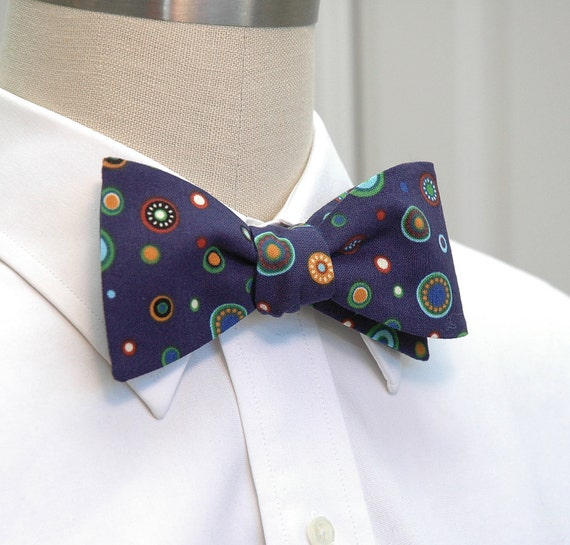 Men's Bow Tie in navy with multi-color circle design (self-tie)