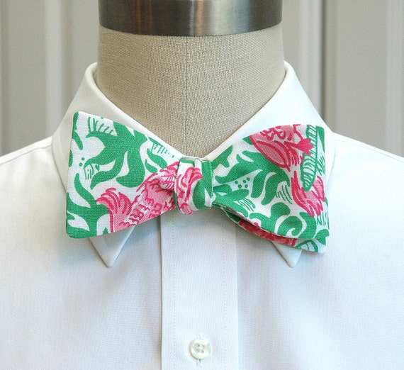 Lilly Bow Tie in pink and green Cockatiel cutie (self-tie)