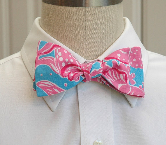 """Men's bow tie in Lilly Pulitzer pink and blue  """"Making a Scene"""""""
