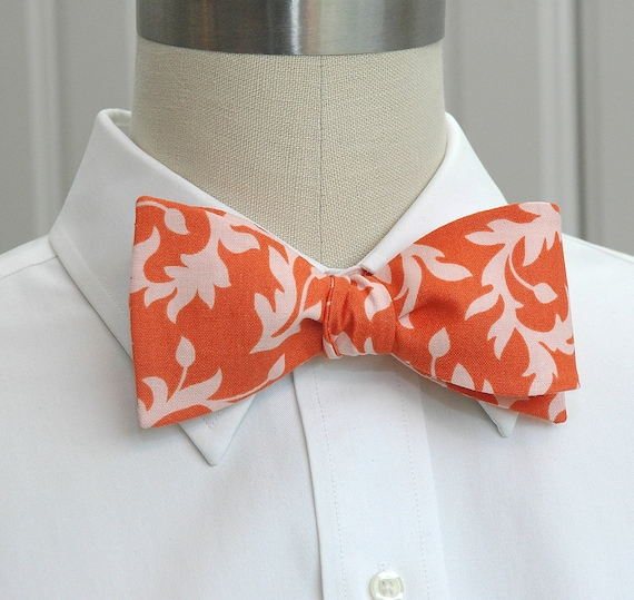 Men's Bow Tie in coral and peach leaf design, wedding party bow tie, groom bow tie, groomsmen gift, coral wedding accessory, dapper menswear
