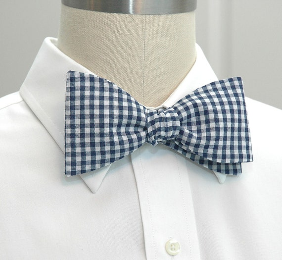 Men's Bow Tie in navy and white gingham (self-tie)