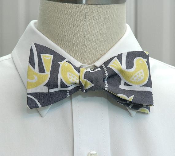 Men's Bow Tie in grey with yellow birds (self-tie)