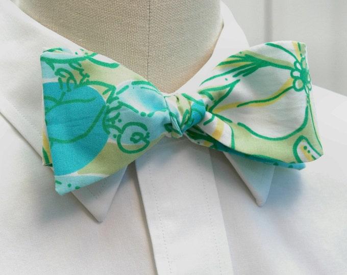 Men's Bow Tie, Crab Cake turquoise, aqua & green Lilly print, ocean bow tie, beach wedding bow tie, groom/groomsmen bow tie, prom bow tie