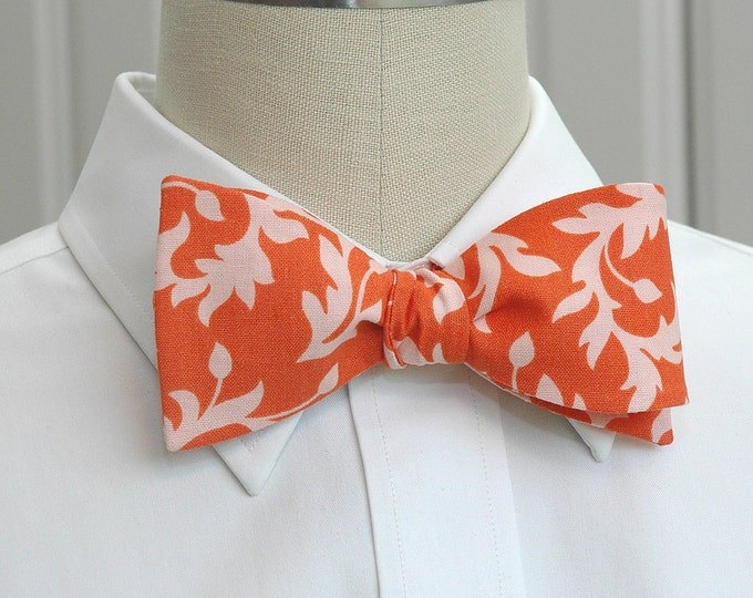 Men's Bow Tie, coral/peach leaf design, wedding party bow tie, groom/groomsmen bow tie, beach wedding bow tie, prom bow tie, tux accessory