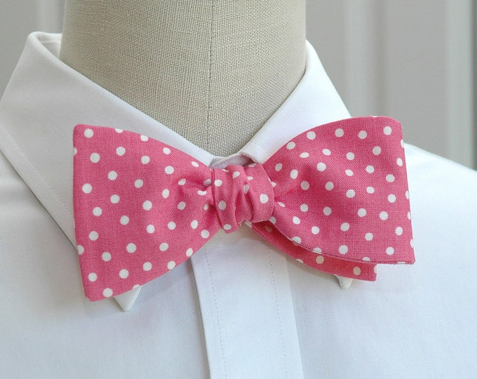 Men's Bow Tie, pink with white polka dots bow tie, pink white bow tie, wedding bow tie, groom bow tie, groomsmen gift, rose pink bow tie,