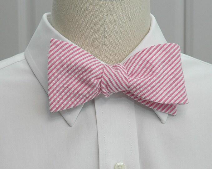 Men's Bow Tie, hot pink seersucker, wedding party tie, groom's bow tie, groomsmen gift, preppy bow tie, wedding accessory, self tie bow tie