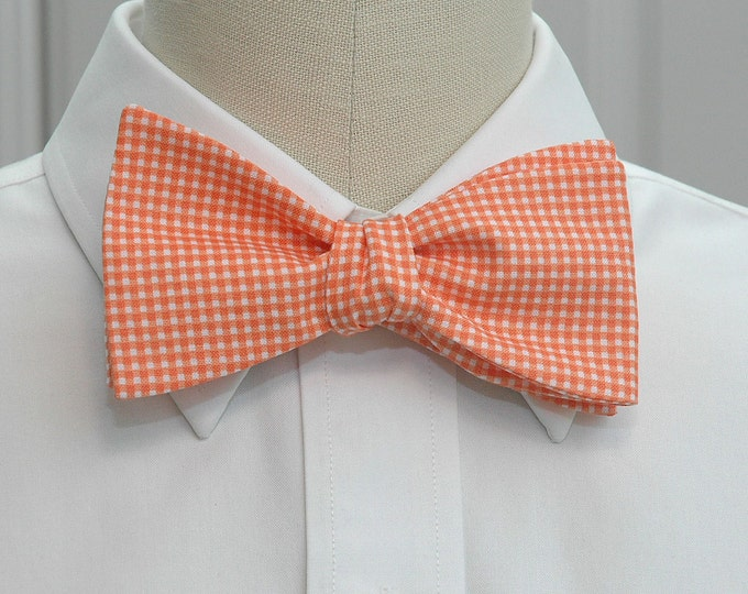 Men's Bow Tie, orange mini gingham bow tie, wedding bow tie, groom bow tie, groomsmen gift, traditional bow tie, orange bow tie, prom bowtie