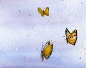Butterflies in the Sky - Watercolor Print