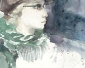 Girl in Suede Hat - Watercolor Print