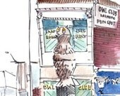 Owl Club - Architectural Watercolor & Illustration Print