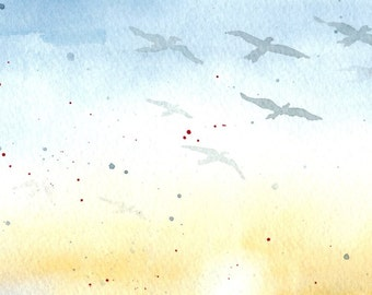 Flock in the Sky - Watercolor Print