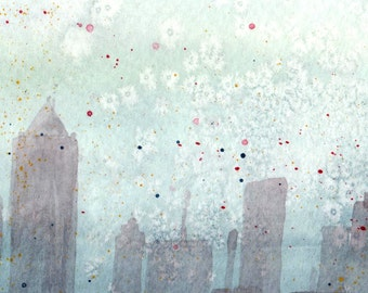Cityscape in the Sky - Watercolor Print