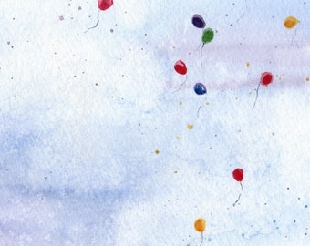 Party in the Sky - Watercolor Print
