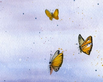 Butterflies in the Sky - Watercolor Print