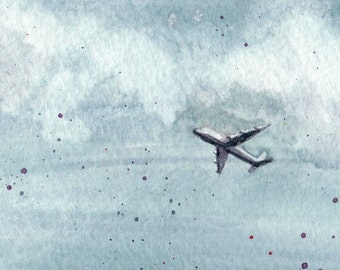 Airplane in the Sky - Limited Edition Watercolor Print