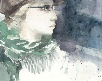 Girl in Suede Hat - Watercolor Print