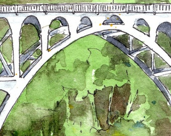 Route 101 Bridge, Oregon - Watercolor & Illustration Print