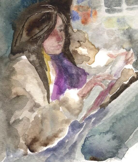 Girl in Fur Coat - Watercolor Print