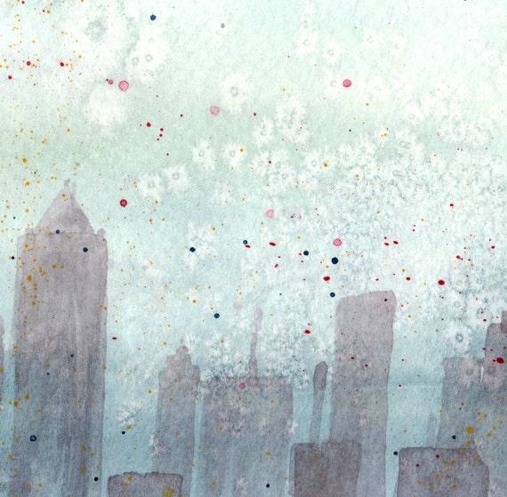 Cityscape in the Sky - Watercolor Print