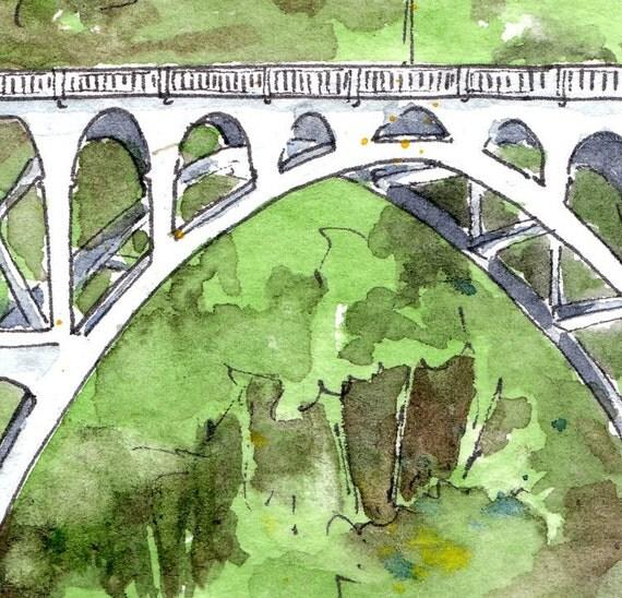 Route 101 Bridge, Oregon - Watercolor & Illustration Print