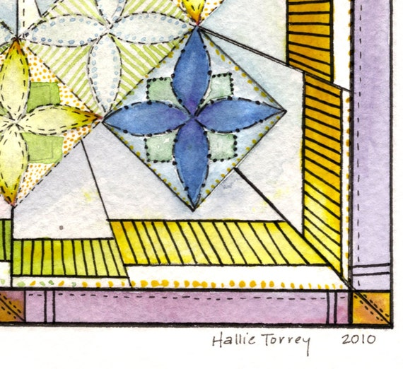 Stained Glass Quilt - Watercolor Print