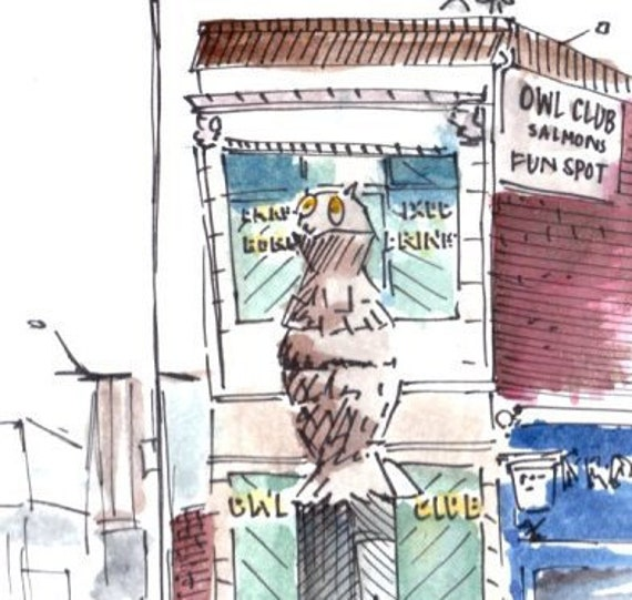 Owl Club - Architectural Watercolor & Illustration Print
