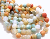 Agate, Banded, Sea Green/Orange/White, Round, Faceted, Gemstone Beads, 8mm, Small, Half-Strand, 23-24pcs - ID 757