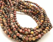 Leopardskin Jasper, Multi Colored, Round, Smooth, 4mm, Very Small, Natural Gemstone Beads, Full Strand, 95pcs - ID 955