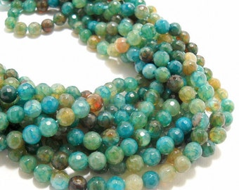 Agate, Fired, Light Aqua, Gemstone Beads, Blue-Green, Round, Faceted, 6mm, Small, 14.5-15 Inch Strand - ID 584