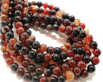 Agate, Brown/Black/Red-Orange, Dark, Rounds, 6mm, Small, Gemstone Beads, Full Strand, 67pcs - ID 611