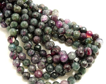 Fired Agate Gemstone Beads, 6mm, Green/Purple, Round, Faceted, 15 Inch Strand - ID 733
