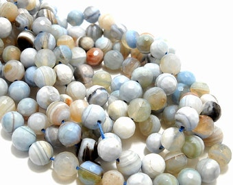 Agate, Banded, Light Blue/White/Brown, Round, Faceted, Gemstone Beads, 8mm, Small, 15 Inch Strand, 48pcs - ID 756