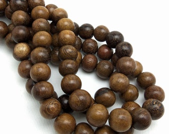 Robles, Natural Wood Beads, Round, Smooth, 10mm, Large, Full 16 Inch Strand, 40pcs - ID 1038