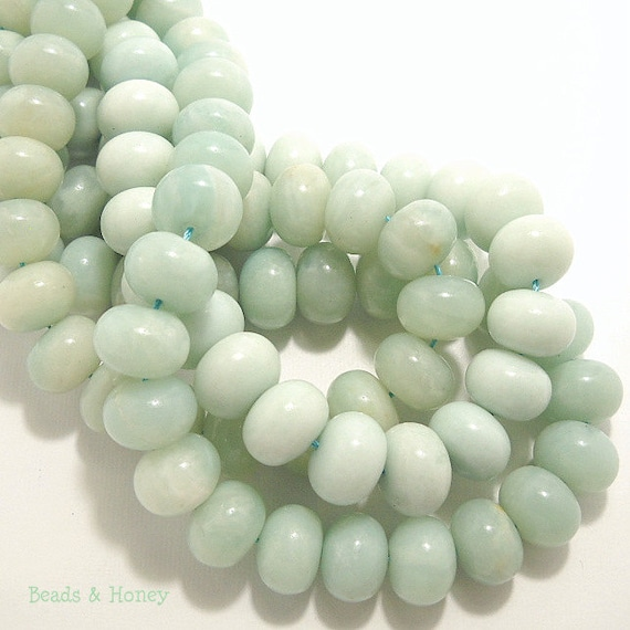 Amazonite, Grade AB, Rondelle, Smooth, 14mm, Large, Natural Gemstone, Half-Strand, 19pcs - ID 481