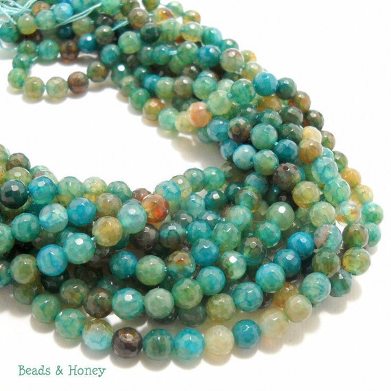 Agate, Fired, Aqua, Gemstone Beads, Blue-Green, Dark, Round, Faceted, 6mm, Small, Full-Strand, 62pcs - ID 584