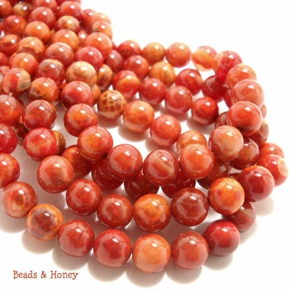 Agate Gemstone Beads - Orange, Fired (Crackle), Round, Smooth, 10mm, Small, Semiprecious Stone, 18pcs - ID 593