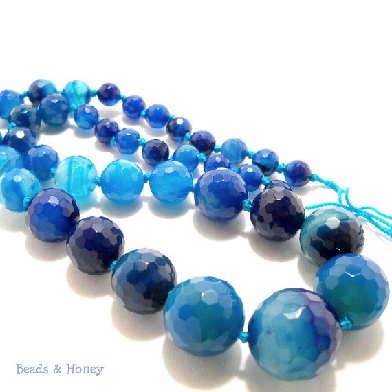 agate gemstone graduated bright blue faceted