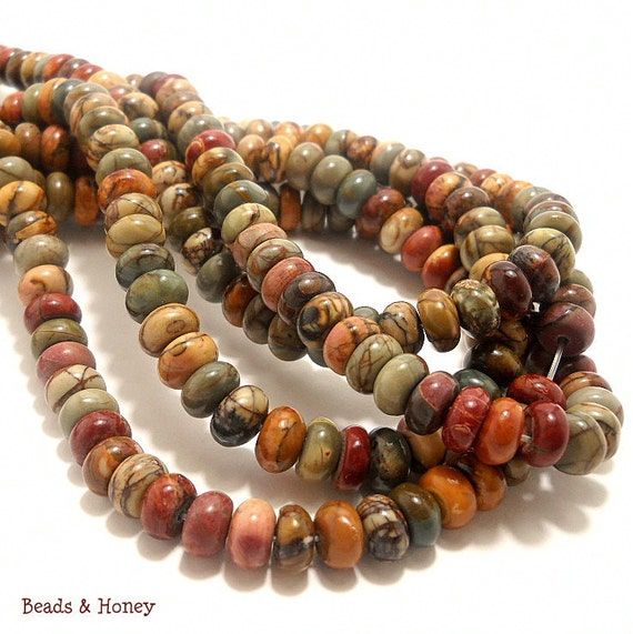 Red Creek Jasper Natural Gemstone Beads - Multi-colored, Green/Red/Brown, Rondelle, Smooth, 8mm, Small, Half Strand, 40pcs - ID 747
