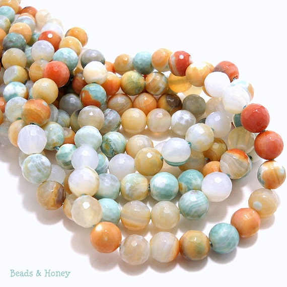 Agate, Banded, Sea Green/Orange/White, Round, Faceted, Gemstone Beads, 8mm, Small, Full-Strand, 48pcs - ID 757