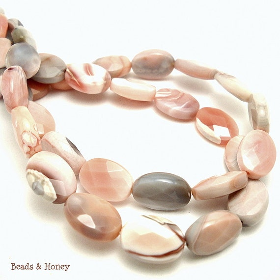 Pink Botswana Agate, Grade A, Gemstone Beads, Natural, Banded, Oval, Puffed, Faceted, 14x10mm, Half-Strand, 14pcs - ID 819