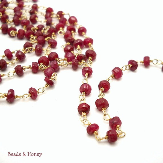 Ruby and 18K Gold Vermeil Chain, Beaded, Hand-Wrapped, Priced per Foot - ID 832