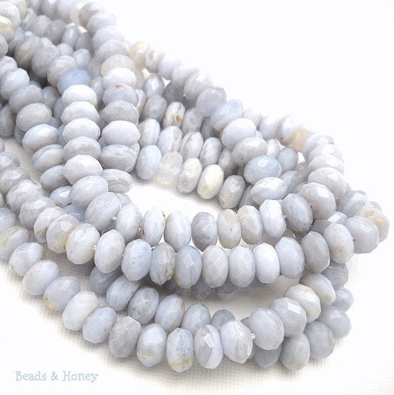 Blue Lace Agate, Natural Gemstone Beads, Rondelle, Faceted, 5x8mm, 27 pcs - ID 877