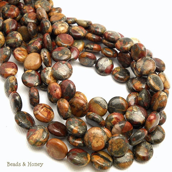 Red Creek Jasper with Pyrite, Gemstone Beads, Multi-colored, Coin, Puffed, Smooth, 10mm, Half Strand, 20pcs - ID 904