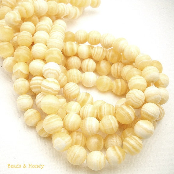 Yellow Calcite, Natural Gemstone Beads, Round, Smooth, 10mm, Half Strand, 19-20pcs - ID 891