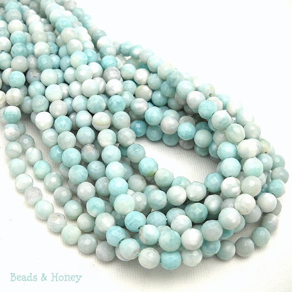Agate Gemstone Beads, Sea Green and White, Fired, Round, Faceted, 6mm, Small, Full-Strand, 60pcs - ID 913