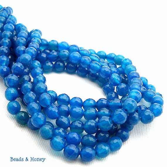 Agate, Azure Blue, Round, Faceted, 6mm, Small, Gemstone Beads, Half Strand, 30pcs - ID 934