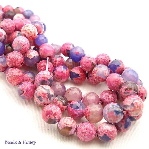 Agate, Pink and Purple, Fired, Antiqued, Round, Faceted, Gemstone Beads, 10mm, 25pcs - ID 948