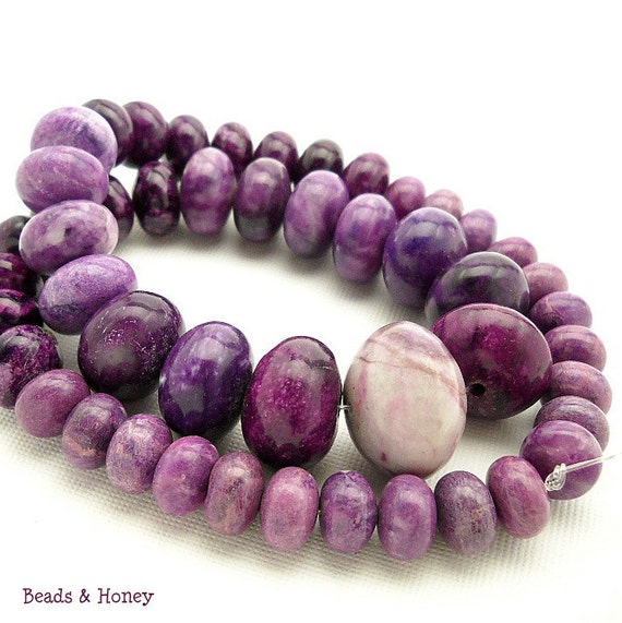 Lepidolite, Graduated, Rondelle, Smooth, Gemstone Beads, 10-20mm, Full Strand, 49pcs - ID 991