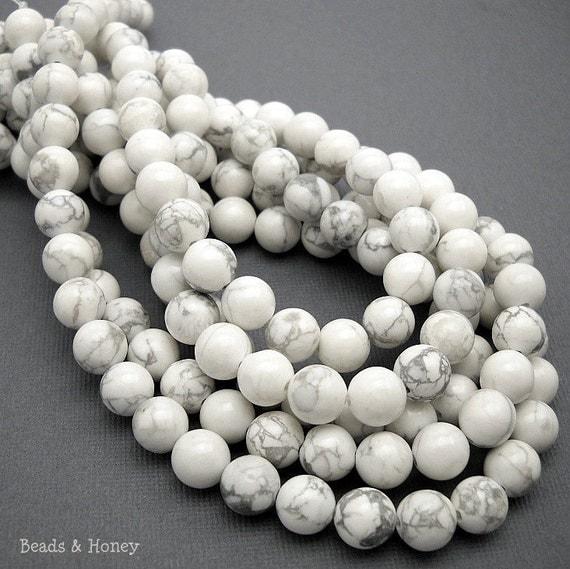 White Howlite, Natural Gemstone Beads, Round, Smooth, 8mm, Small, Full Strand, 48pcs - ID 1019
